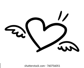 Vector illustration of handwritten heart shape with little wings isolated on a white background.