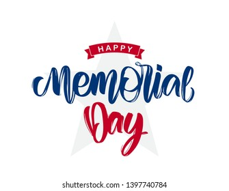 Vector illustration: Handwritten lettering composition of Happy Memorial Day with ribbon and stars on white background.
