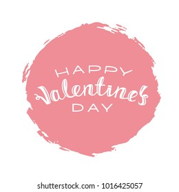 Vector illustration: Handwritten lettering of Happy Valentines Day on pink background.
