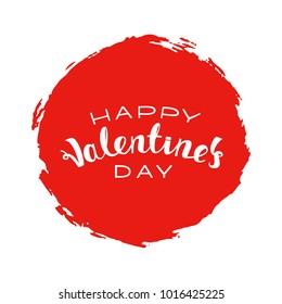 Vector illustration: Handwritten lettering of Happy Valentines Day on red background.