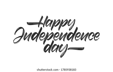 Vector illustration: Handwritten lettering of Happy Independence Day on white background.