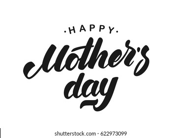 Vector illustration: Handwritten lettering of Happy Mother's Day isolated on white background.