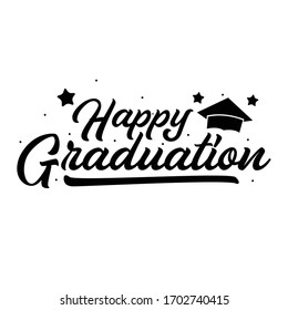 Vector illustration: Handwritten modern brush lettering of Happy Graduation on white background. Typography design. Greetings card.