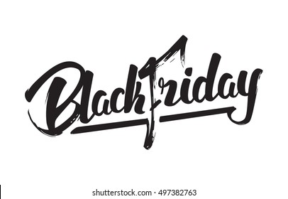 Vector illustration: Handwritten modern brush lettering of Black Friday isolated on white background