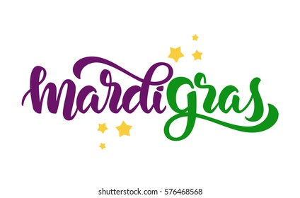 Vector illustration: Handwritten modern brush lettering of Mardi Gras with stars on white background