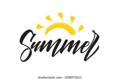 Vector illustration: Handwritten type lettering composition of Summer  with hand drawn brush sun