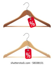 vector illustration of hanger with sale tag