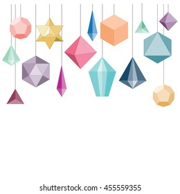 vector illustration / hanging decoration with geometrical shapes