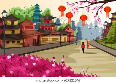 vector illustration of hanging lantern decorated city of China