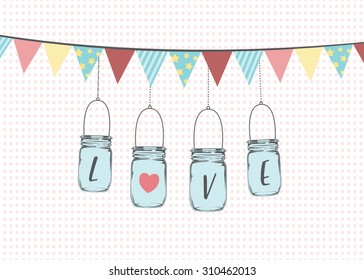 Vector illustration of hanging mason jars.
