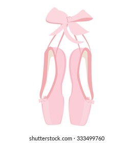 Vector illustration hanging pink ballet pointe. Pointes shoes.