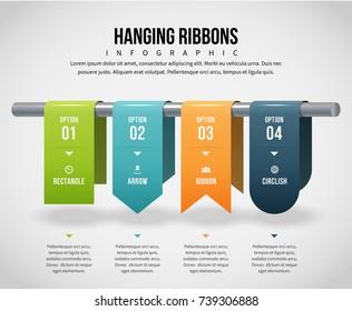 Vector illustration of hanging ribbons infographic design element.
