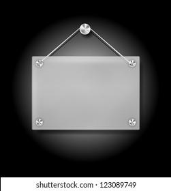 Vector Illustration of Hanging Transparent Plexi Signboard on Black Background