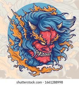 Vector illustration of hannya oni demon