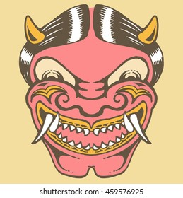 vector illustration of hannya the traditional japanese demon mask