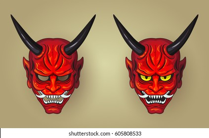 Vector illustration of Hannya the traditional japanese demon Oni mask red
