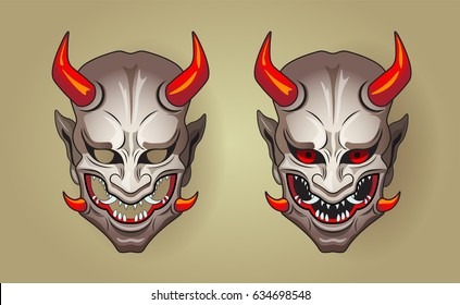 Vector illustration of Hannya the traditional japanese demon Oni mask white