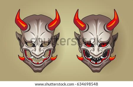 vector illustration hannya traditional japanese demon