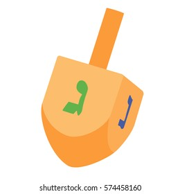 Vector illustration of Hanukkah dreidel, and its letters of the Hebrew alphabet. Chanukah dreidel icon. Jewish, hebrew toy