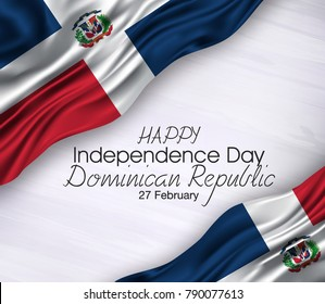 Vector illustration of Happ Dominican Republic day 27 February. Waving flags isolated on gray background.