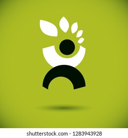 Vector illustration of happy abstract individual with raised hands up. Go green idea creative logo. Ecotourism conceptual icon. Downshifting symbol.