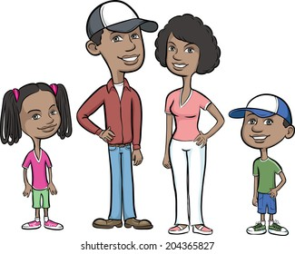 Vector illustration of happy african-american family