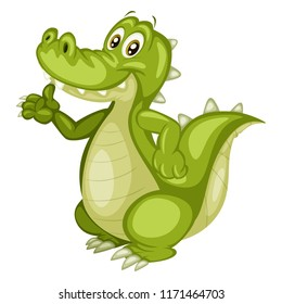 Vector Illustration of a Happy Alligator. Cute Cartoon Crocodile Cheering Isolated on a White Background. Happy Animals Set