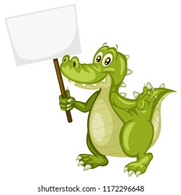 Vector Illustration of a Happy Alligator. Cute Cartoon Crocodile Holding a Text Banner Isolated on a White Background. Happy Animals Set