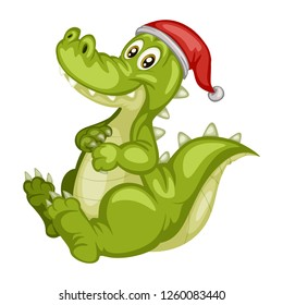Vector Illustration of a Happy Alligator. Cute Cartoon Crocodile with a Red Christmas Hat Isolated on a White Background. Happy Animals Set