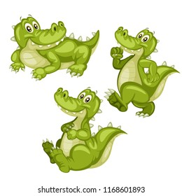 Vector Illustration of a Happy Alligator Set. Cute Cartoon Alligators  in Different Poses Isolated on a White Background. Happy Animals Set. Alligator Walking, Sitting, Lying