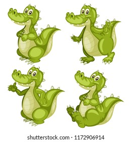 Vector Illustration of a Happy Alligator Set. Cute Cartoon Alligators  in Different Poses Isolated on a White Background. Happy Animals Set. Alligator Dancing, Cheering, Sitting