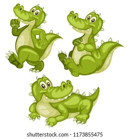 Vector Illustration of a Happy Alligator Set. Cute Cartoon Alligators  in Different Poses Isolated on a White Background. Happy Animals Set. Alligator Walking, Lying, Sitting
