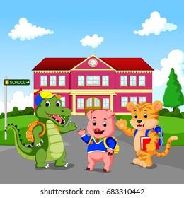 vector illustration of happy animal cartoon standing in front of school building