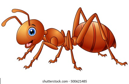 Vector illustration of Happy ant cartoon