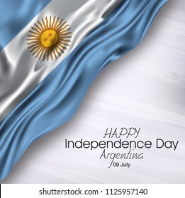 Vector illustration of Happy Argentina Independence Day 09 July. Waving flags isolated on gray background