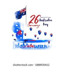 Vector illustration of Happy Australia day poster, Australia flag, kangaroo, banner template for websites, greeting.