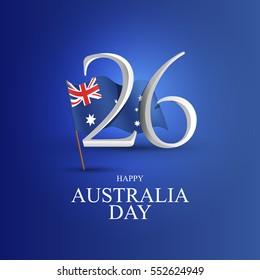 vector illustration. Happy Australia Day, 26th January.