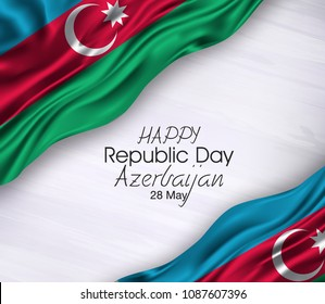 Vector illustration of Happy Azerbaijan Republic Day 28 May. Waving flags isolated on gray background.