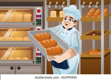 A vector illustration of happy baker holding breads in the kitchen