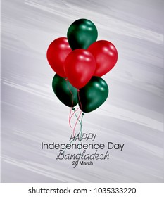 Vector illustration of  Happy Bangladesh  Independence Day 26 March. Balloons with flags isolated on gray background.
