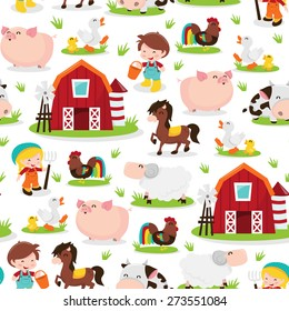 A vector illustration of a happy barnyard farm animals and people seamless pattern background. This pattern is seamless and can be easily tiled to make larger pattern.