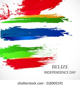 Vector illustration Happy Belize independence day.