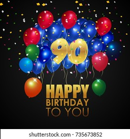 Vector illustration of Happy Birthday 90th with golden number and colorful balloons