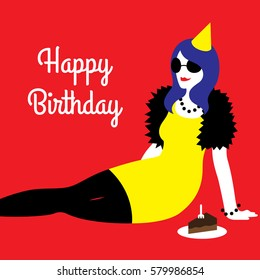 Vector illustration of a happy birthday card with a young woman wearing yellow cocktail dress, party hat, and black sunglasses with a cake on flat red background with a text saying Happy Birthday.