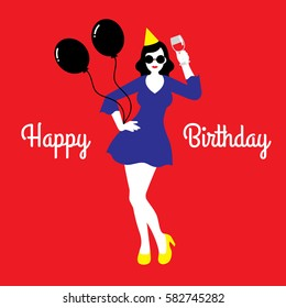 Vector illustration of a happy birthday card with a young woman wearing yellow cocktail dress, party hat, and black sunglasses with wine on flat red background with a text saying Happy Birthday.