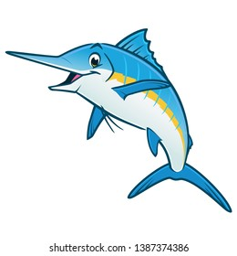 Vector illustration of a happy blue marlin for design element