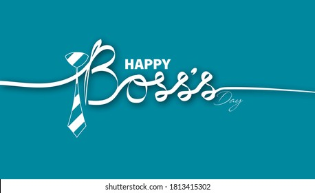 Vector Illustration of Happy Boss's day. 16 October.  Calligraphy text with tie.