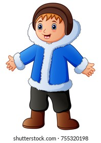 Vector illustration of Happy boy in blue winter clothes