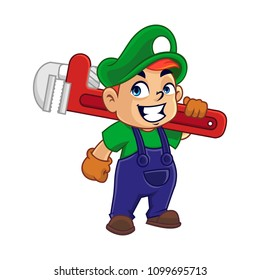Vector illustration of a happy boy  holding pipe wrench.