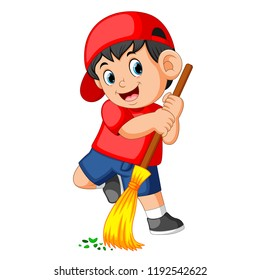 sweeping clip art images stock photos vectors shutterstock https www shutterstock com image vector vector illustration happy boy using red 1192542622